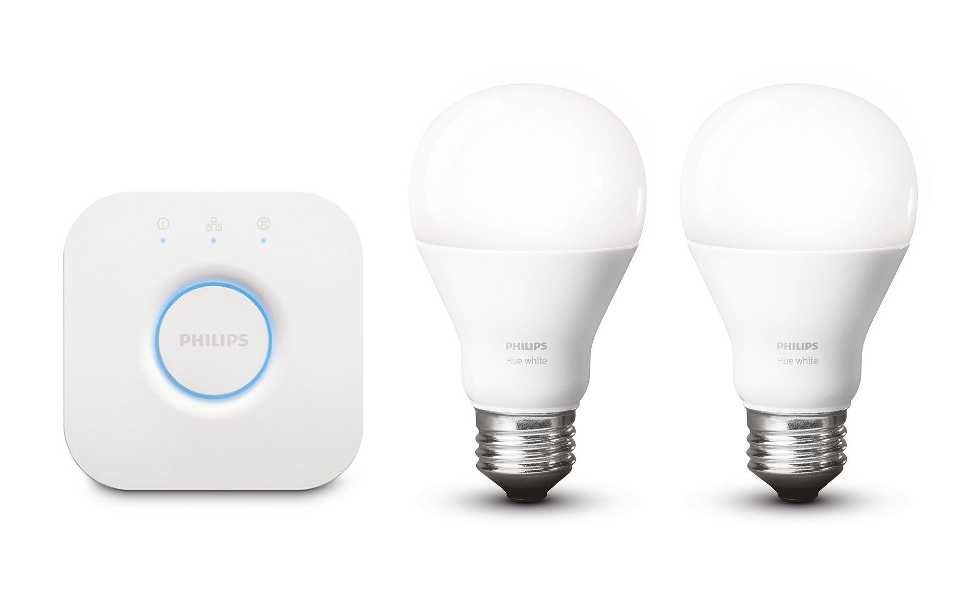 Philips Hue White Personal Wireless Lighting LED Starter Kit, 2 x 8.5W E27 Hue White Bulbs, 1 x Hue Bridge 2.0, Apple Home Kit Enabled, Works with Alexa