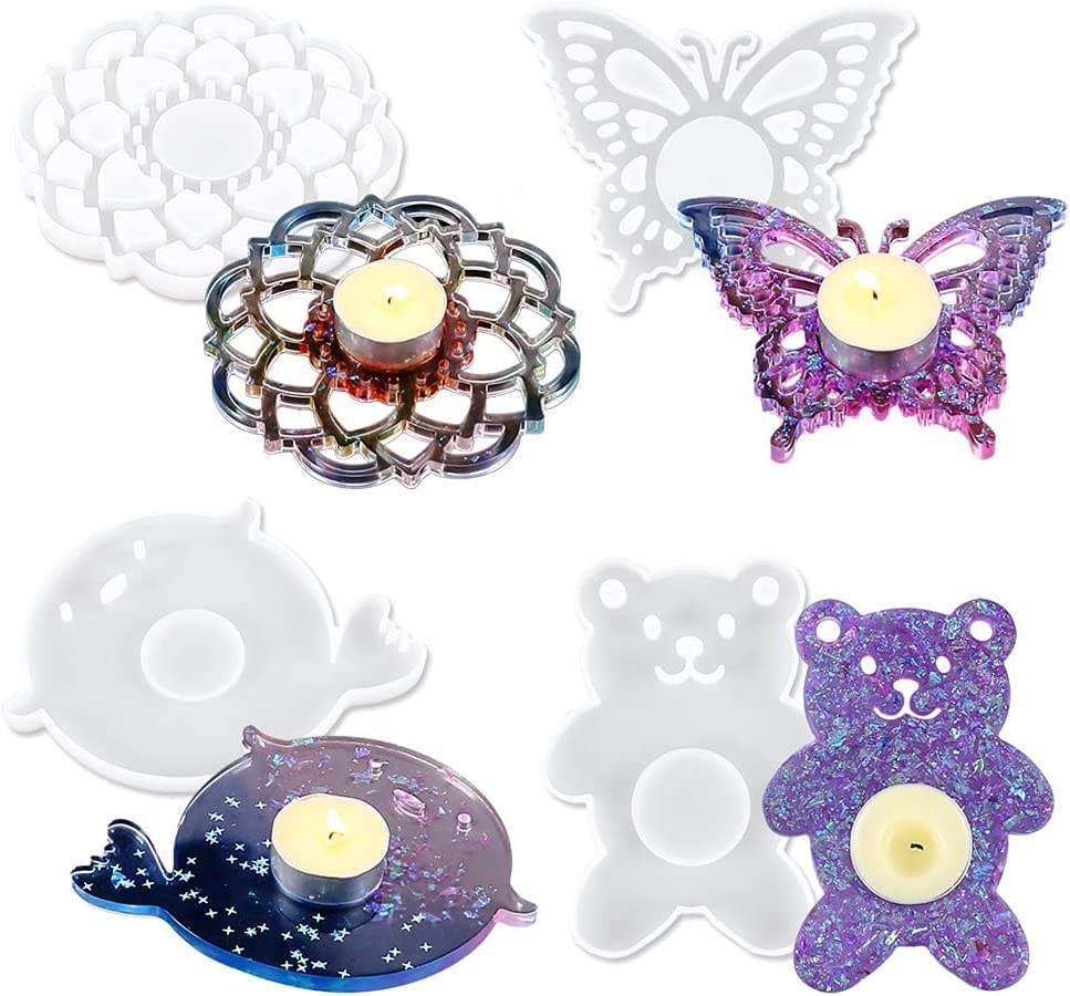 Rare 4 Pieces Candle Holder Silicone Resin Flowers Cup Popular products Tray Molds Ma