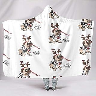 TengmiuXin Manta con Capucha para Silla en Primavera o otoño o Invierno, diseño de Perro Divertido, Blanco, 150 x 200cm