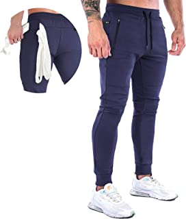 MakingDa Men's Jogger Training Pants with Zip Pockets Gym Fitness Trousers Slim Fit Jogging Bottoms Sweatpants for Casual ...