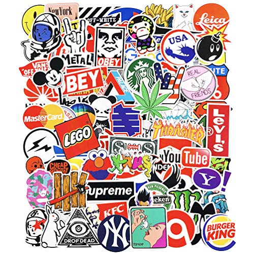 Popular Fashion Brand Stickers for Laptop Teens Water Bottles Skateboard Car Luggage Motorcycle Bicycle Vinyl Decals 100pcs
