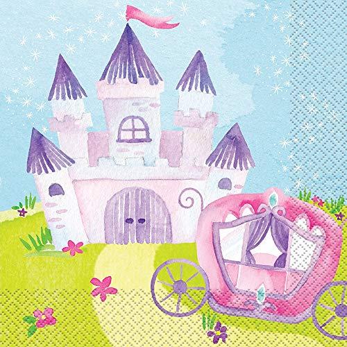 Unique Party 58372-Serviettes en Papier-16,5 cm-Fête à thème Princesse Magique-Paquet, 16