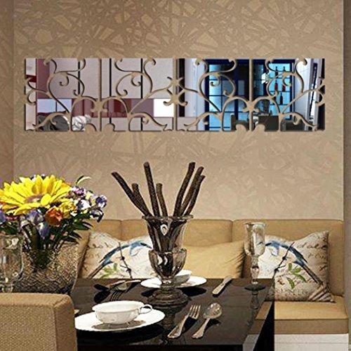wandaufkleber wandtattoos Ronamick 16 stücke DIY 3D Acryl Spiegel Aufkleber Wandbild Wandbild Home Decor Abnehmbar Wandtattoo Wandaufkleber Sticker Wanddeko (Silber)