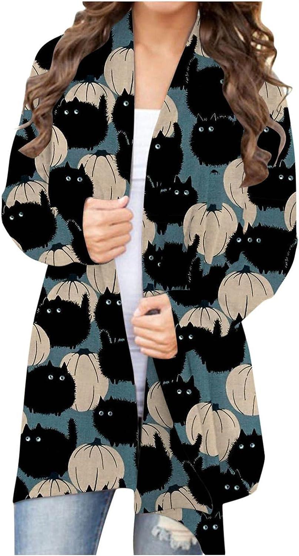 Womens Long Sleeve Tops,Womens Halloween Sweaters Cardigan Open Front Lightweight Pumpkin Bat Graphic Outwear Coat