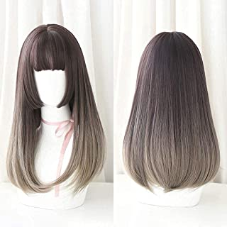 YYCHER Hairpieces Japanese Lolita Long Straight Lace Front Wigs with Air Bangs 2 Tone Color Mixed Heat Resistant Synthetic...