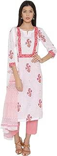 PINKSHINK Women's Readymade White and Pink Pure Cotton Indian/Pakistani Salwar Kameez Dupatta