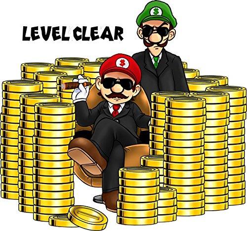 Okiwoki T-Shirt Noir Super Mario parodique Mario et Luigi : Level Clear : (Parodie Super Mario)
