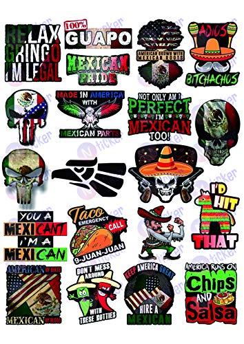 20 Mexikanische Aufkleber - Calcomanías Mexicanas para carro - 100% Vinyl Sticker - Lustige Aufkleber für Hardhut, Bau, Laptop, Wasserflasche oder Lunchbox Pegatinas Cascos Calcomanias para Autos