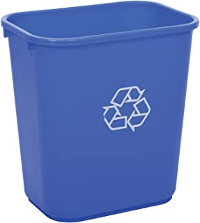 Global Industrial Plastic Recycling Wastebasket, 28-1/8 Qt, Blue