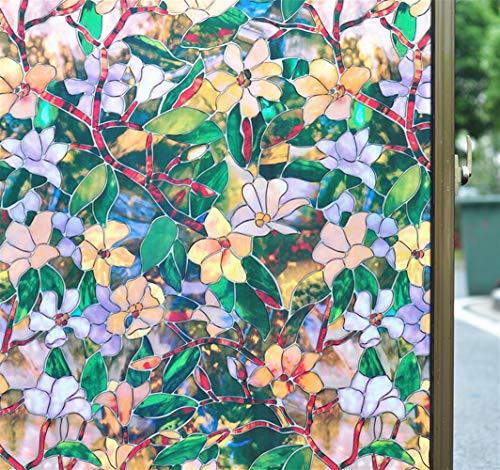 Ommda 3D-raamfolie, kleurrijk, bloemen, melkglas, zelfklevend, statisch hechtend, raamfolie, zonder lijm, verwijderbaar 45x500cm Mangnolia