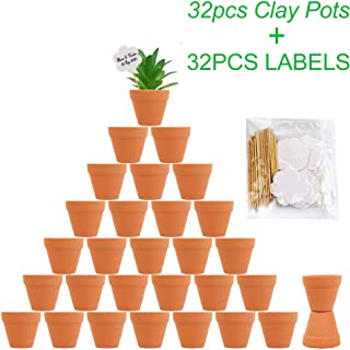 OurWarm 32pcs Clay Pots, 2`` Terra Cotta Pots Ceramic Pottery Planter, Terracotta Pot Mini Clay Flower Pots. Cactus Flower Succulent Nursery Pots with Drainage Hole for Indoor Outdoor Plants, Crafts