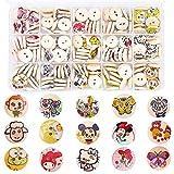 LLMZ Bottoni in Legno per Bambini 1PCS Bottoni Colorati Rotondi Pulsante Cartone Animato Cucito Fai da te 225 Pezzi per Confezione, 15 MM di Diametro
