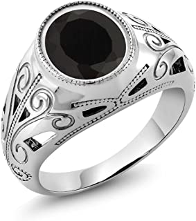 925 Sterling Silver Oval Black Onyx Men's Ring 4.29 Ct (Available 7,8,9,10,11,12,13)