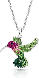 BLING BIJOUX Colorful Crystal Flying Hummingbird Pendant Necklace Never Rust 925 Sterling Silver Natural and Hypoallergeni...