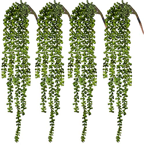CEWOR 4pcs Artificial Succulents Hanging Plants Fake String of Pearls for Wall Home Garden Decor (23.62 Inches Each Length)