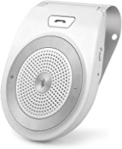 Bluetooth HandsFree for Cell Phone, Aigital Wireless Car Speakerphone for Handsfree Calling Motion AUTO Power ON Audio Receiver Sun Visor Speaker Music Player Adapter Built-in Microphone - White