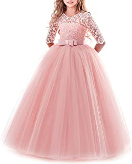 Girls Flower Floral Lace 3/4 Sleeves Floor Long Princess Dress Wedding Party Evening Formal Pegeant Maxi Gown