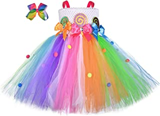 Girls Candyland Rainbow Tutu Dress Costume Princess Birthday Halloween Lollipop Pageant Tulle Dress Up Costumes with Headband