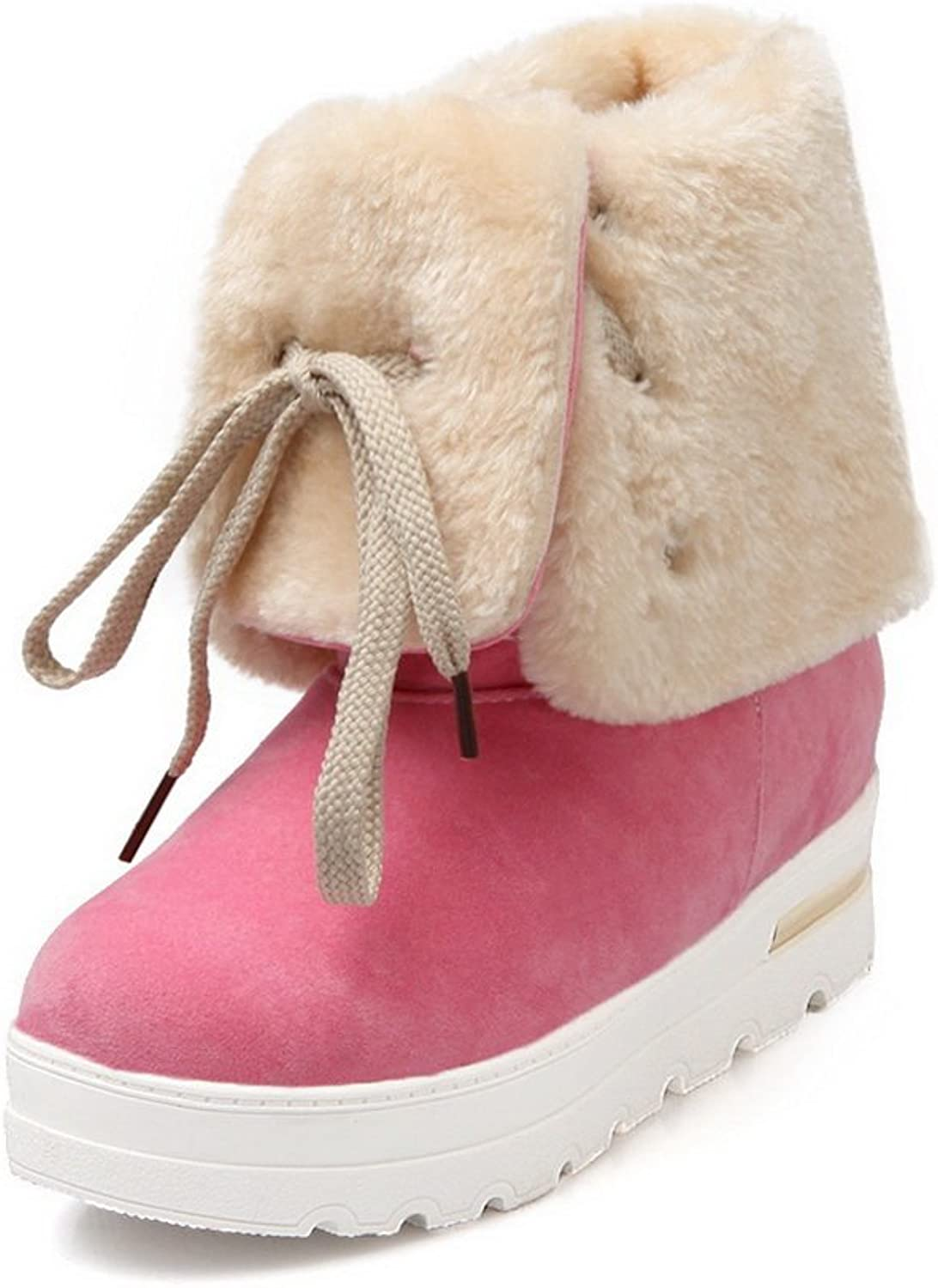 BalaMasa Ladies Cold-Weather Foldable Heighten Inside Imitated Leather Boots