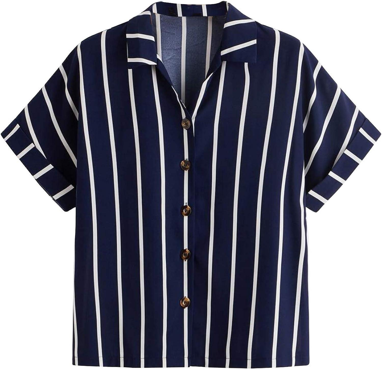 LYANER Women's Casual Striped Notch Neck Button Down Short Sleeve Shirt Blouse Top