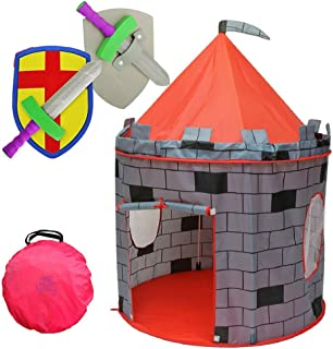 """Kiddey Knight's Castle Kids Play Tent -Indoor & Outdoor Children's Playhouse -- Durable & Portable with Free Carrying Bag – """"Bonus"""" Shield and Sword Set - Makes for Boys & Girls"""