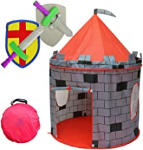 "Kiddey Knight's Castle Kids Play Tent -Indoor & Outdoor Children's Playhouse -- Durable & Portable with Free Carrying Bag – ""Bonus"" Shield and Sword Set - Makes for Boys & Girls"
