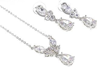 DUOC Bridal Crystal Teardrop Necklace Earrings Bracelet Jewelry Set Wedding Prom