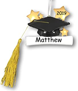 Personalized Graduation Cap with Stars Tassel and Diploma Scroll Christmas Ornament with Name and Date