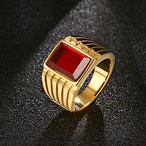 RNXRB Anillos de Moda para Hombre Anillo de Diamantes de imitación Rojo Cuadrado de Acero Inoxidable para Hombres Color Dorado Banda de Compromiso de Boda Accesorios de joyería Anillos de Boda 10