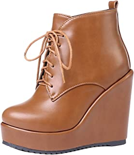 ELEEMEE Women Wedge Heel Ankle Boots Platform Lace Up