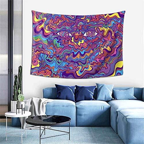 Psicodélico colorido ojos y olas fantástico arte para colgar en la pared, mural para dormitorio, sala de estar, dormitorio, decoración del hogar