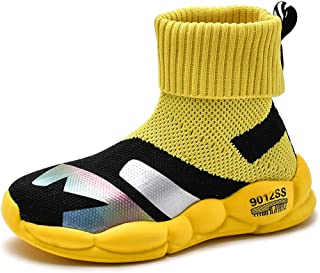 Yong Ding Kids Mesh Sneakers Breathable Slip On High Top Sports Shoes for Boys and Girls Anti Slip Athletic Trainers