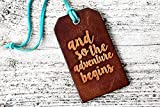 And So The Adventure Begins Genuine Leather Luggage Tag Graduation Gift Wedding Gift