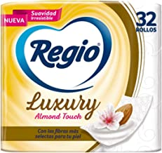 Regio Papel Higiénico Luxury Almond Touch; Ligero Aroma A Almendras Y Hojas Dobles; Marca Regio 32 Rollos, color, 32 count...