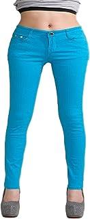 Otoño Elástico De Las Mujeres Pantalones Vaqueros Pantalones De Caramelo De Color Mediados