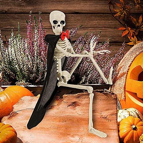 YISC Esqueleto de Halloween Modelo de Esqueleto de Cuerpo Completo Colgante Figura de Calavera de plástico con Juntas móviles para decoración de Halloween