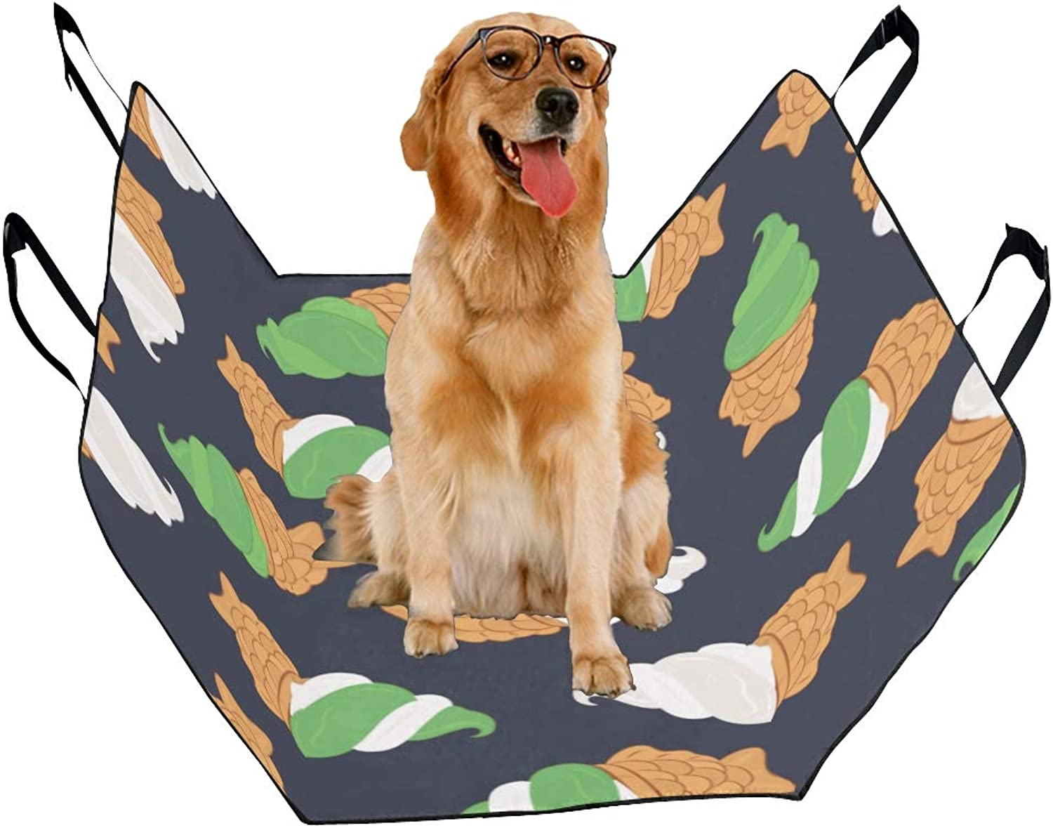 Fashion Oxford Pet Car Seat Matcha HandPainted Pastry Drinks Waterproof Nonslip Canine Pet Dog Bed Hammock Congreenible for Cars Trucks SUV