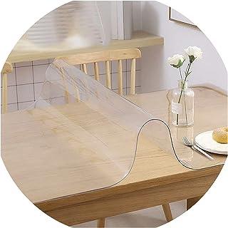 PVC Table Protector Table Cover Protector, Clear PVC Tablecloth, Waterproof Clear PVC Table Cover, Oil Resistant, Non-Sli...