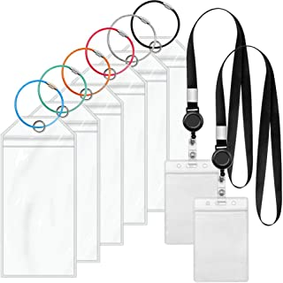 Cruise Luggage Tags and ID Holders, Cruise Etag Holders with Lanyards, Zip Seal & Steel Loops Thick PVC (6 Pack + 2 ID Holders)