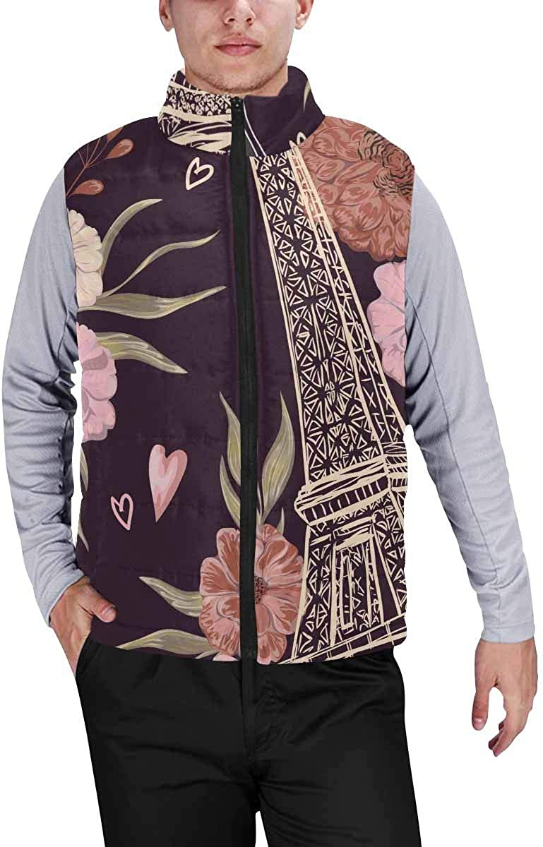 InterestPrint Men's Winter Warm Outdoor Padded Puffer Vest Eagle with Black Feathers