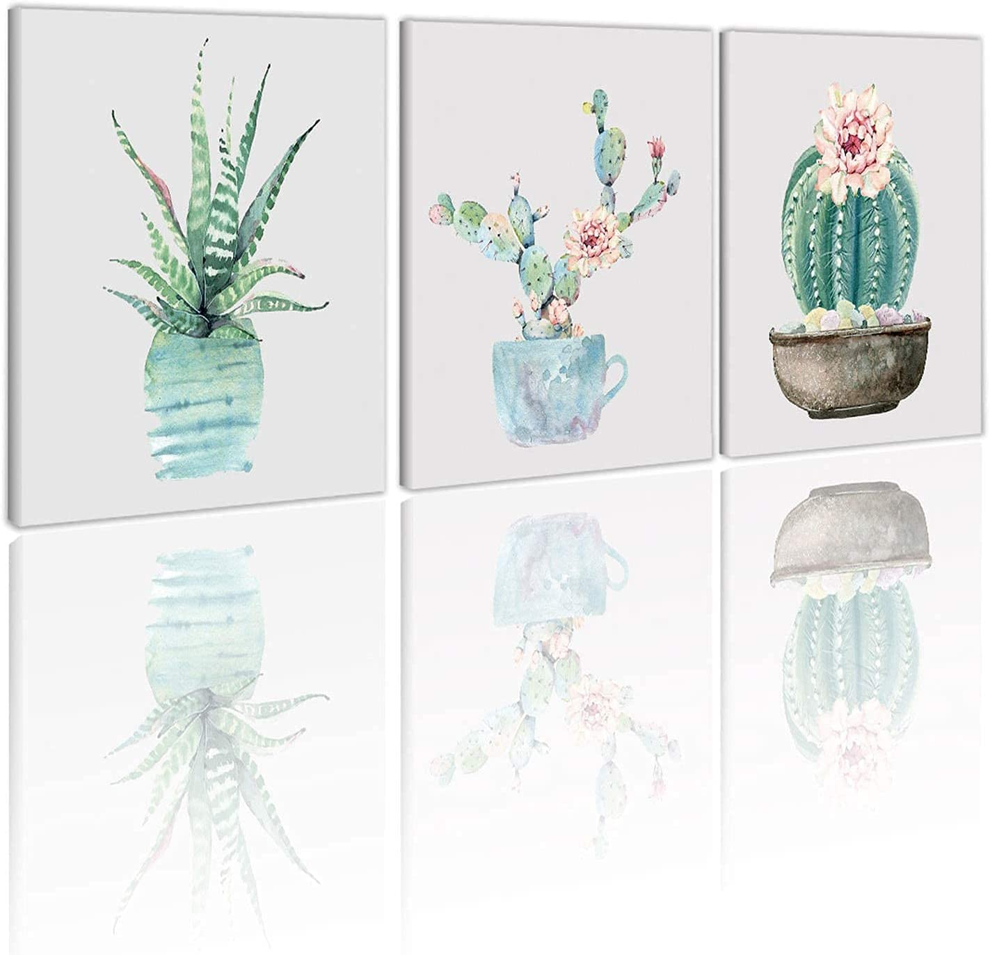 HVEST Cactus Wall Art Framed 3Pieces Tropical Succulent Plants Potted Canvas Abstract Painting Modern Artwork for Bathroom Home Office Room Drom Wall Decor Poster, 12X16 Inchs