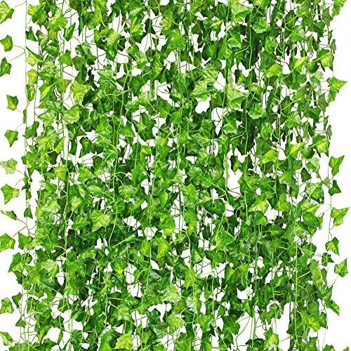 CQURE 12 Pack 84Ft Artificial Hiedra Guirnalda, Hiedra hiland Falsa Vid Verde Hojas Falsas Plantas Falsas Colgantes de la Vid para la decoración de la Pared del jardín de la Boda