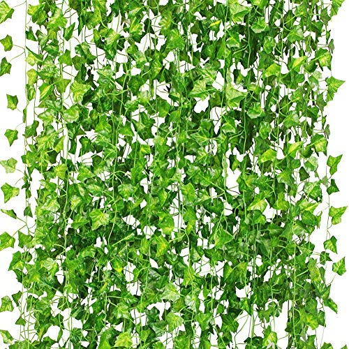 CQURE Artificial Ivy Garland,Ivy Garland Fake Ivy UV Resistant Fake Vine Green Leaves Fake Plants Hanging Vine Plant for Wedding Party Garden Wall Decoration 5 Packs