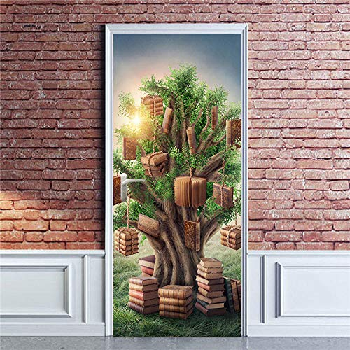 Deurfolie 3D Deurfolie 3D Deur Sticker Home Decor Decals Zelfklevend Behang Voor Deuren Boek Boom Muurschildering Voor Slaapkamer Wandmeubilair Decoration-90X200Cm