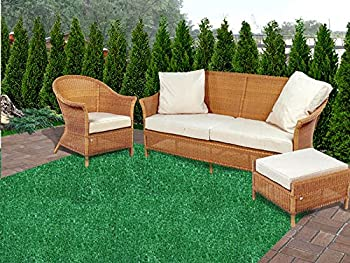 12  Round - Green 1/4  Thick - 8 oz Artificial Grass Turf Carpet Indoor Outdoor Area Rug with Finished Edges