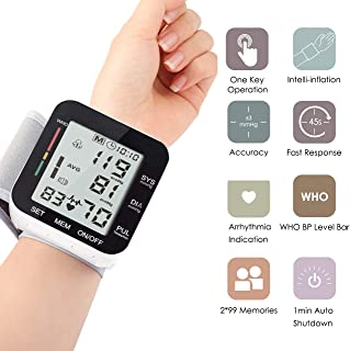Automatic Wrist Blood Pressure Monitor Voice Broadcast High Blood Pressure Monitors Portable LCD Screen Irregular Heartbeat