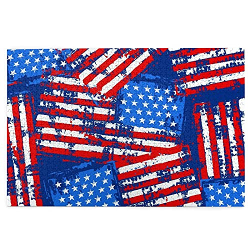 KIMDFACE Rompecabezas Puzzle 1000 Piezas,Bandera Americana Pintada de Socorro,Puzzle Educa Inteligencia Jigsaw Puzzles para Niños Adultos
