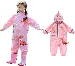 ActionEliters One Piece Kids Rain Suit Toddler Baby Boys Girls Raincoat Cartoon Dinosaur Waterproof Rainwear Hooded Rain Suit