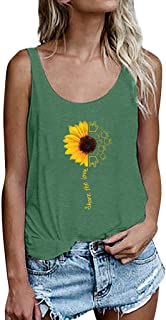 Sunyastor Women Blouse Flowy Vest Top Bandages Tank Top Sunflower Print Sleeveless Backless Loose Crop Tops Tank Blouse