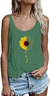 Fashion Womens Letter Print Sunflower Sexy Sleeveless Tank Tops SADUORHAPPY Crop Vest Blouse T-Shirt